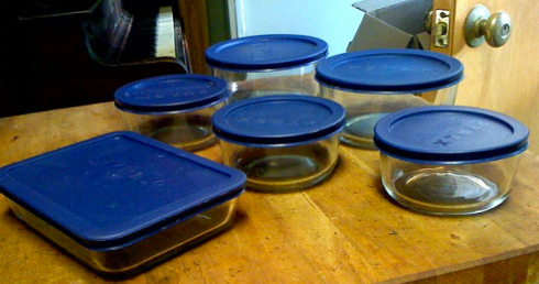 Storing food in pyrex or other glass containers means no leaching of petrochemicals into your food.
